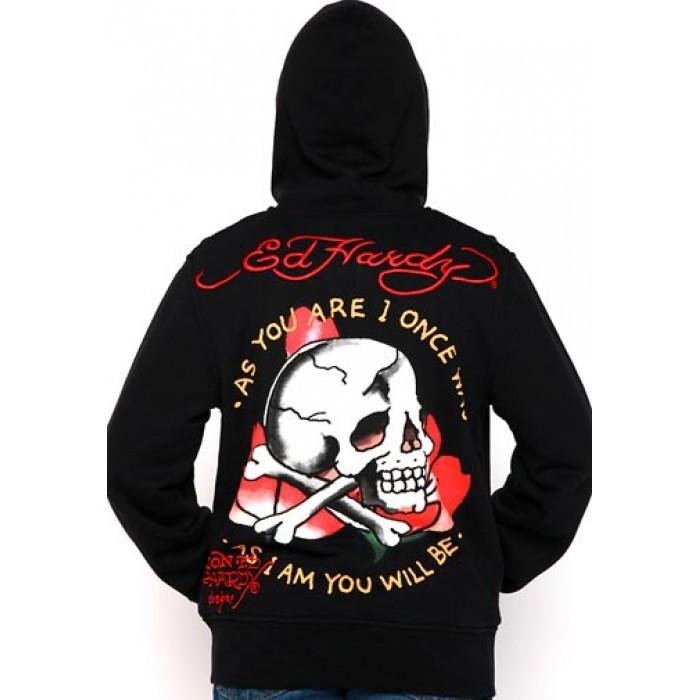 Ed Hardy Mens Skull As You Will Be Basic Hoody 02