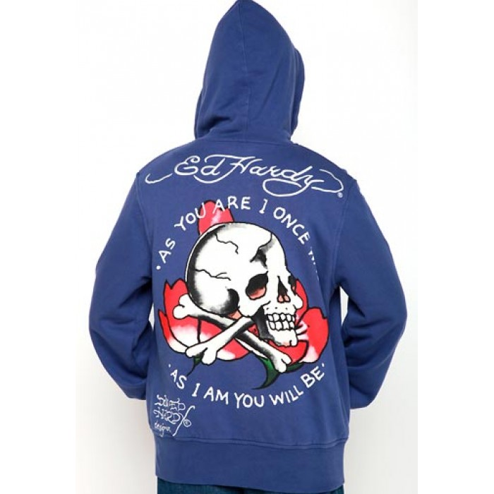 Ed Hardy Mens Skull As You Will Be Basic Hoody