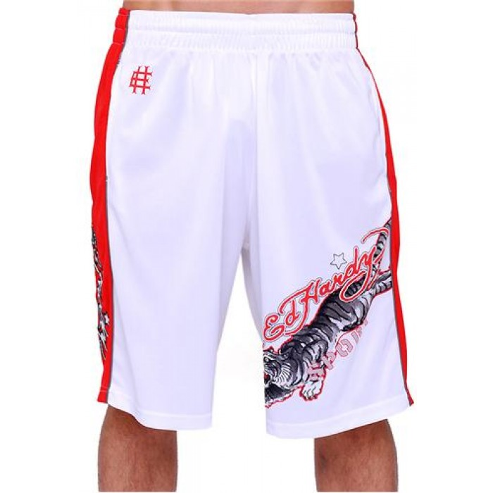 Hot Ed Hardy Mens Tiger Sport Shorts White
