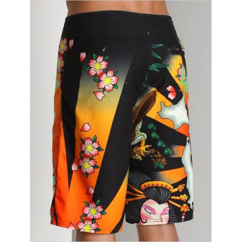 Ed Hardy Mens beach pants black clearance