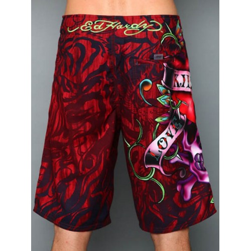 Ed Hardy Mens beach pants red Authorized Site