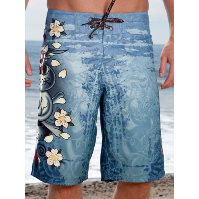 Ed Hardy Mens beach pants blue On Sale