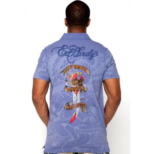 Ed Hardy Polo Mens White Tiger Rope Embroidery
