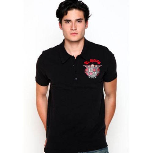 Ed Hardy Polo Big Plaid Studded And Embroidered Mens