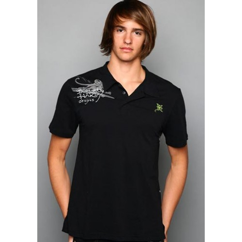 Ed Hardy Polo Big Wave Embroidered Applique
