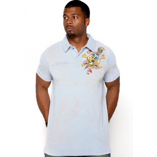 Ed Hardy Mens Polo Chinese Dragon Foiled Embroidered