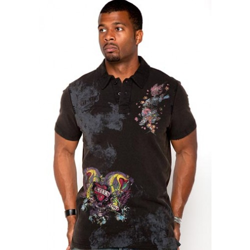 Ed Hardy Chinese Dragon Foiled Embroidered Mens