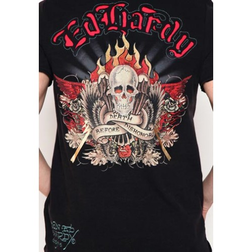 Ed Hardy Mens Death Before Dishonor Basic Embroidered Polo