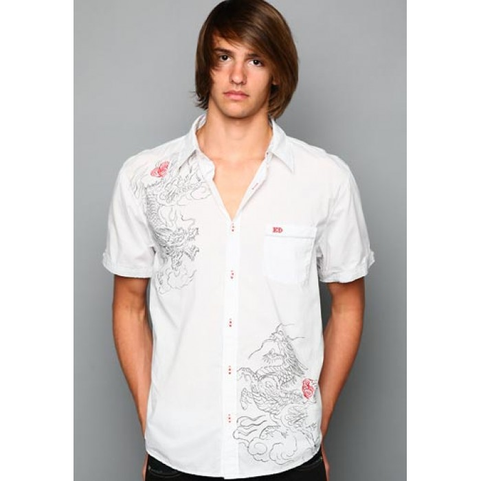 Ed Hardy Death Before Dishonor Enzyme Washed Mens Polo