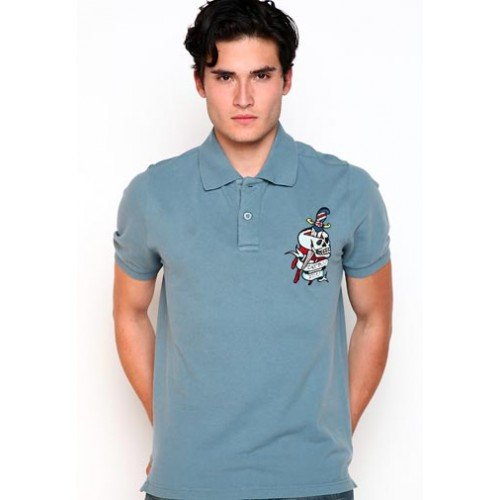 Ed Hardy Death Before Dishonor Rhinestone Mens Polo