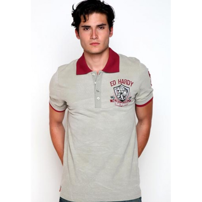 Ed Hardy LA Crown And Skull Embroidered Mens Polo