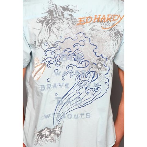 Ed Hardy Love Kills Slowly Mens Discharge Wash Polo