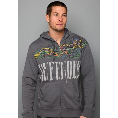 Ed Hardy Mens Dragon Waves Vintage Wash Hoody