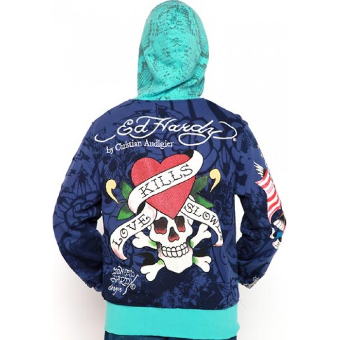 Ed Hardy LKS Flaming Monster Platinum Hoody