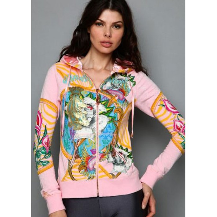 Christian Audigier CA Monarchy Embroidered Velour Hoody Pink