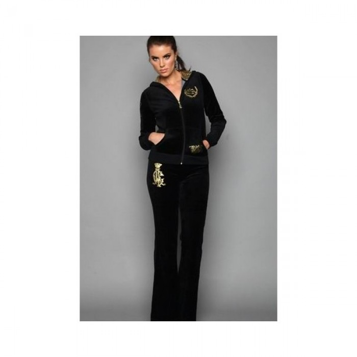 Christian Audigier Womens Long Suit in Gold Logo Black