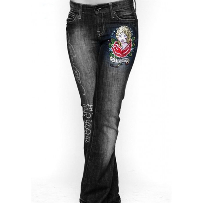 Ed Hardy Womens Jeans Washed straight cut Blue new collection