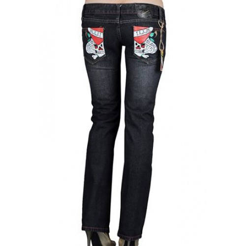 Ed Hardy Womens Jeans Washed straight cut Blue No Sale Tax