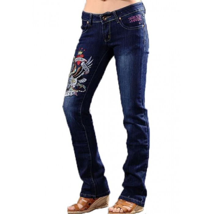 Ed Hardy Womens Jeans Washed straight cut Blue Retailer