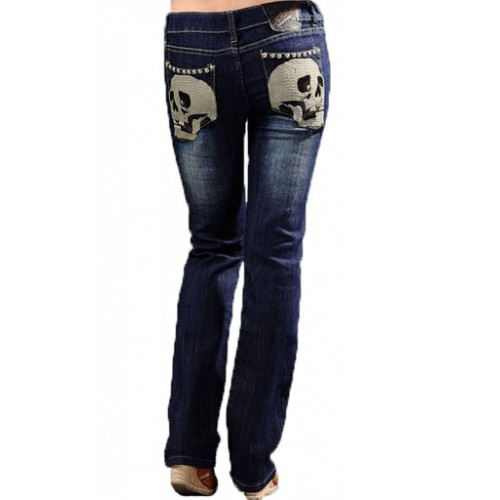 Ed Hardy Womens Jeans Washed straight cut Blue Factory Outlet