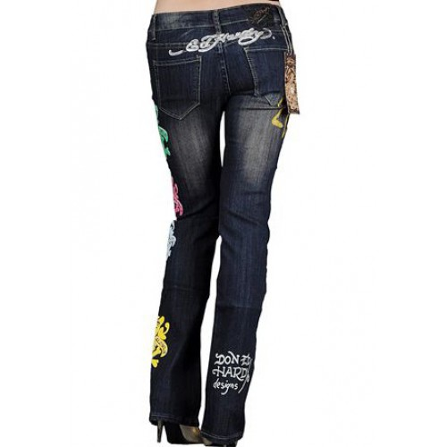Ed Hardy Womens Jeans Washed straight cut Blue newest collection