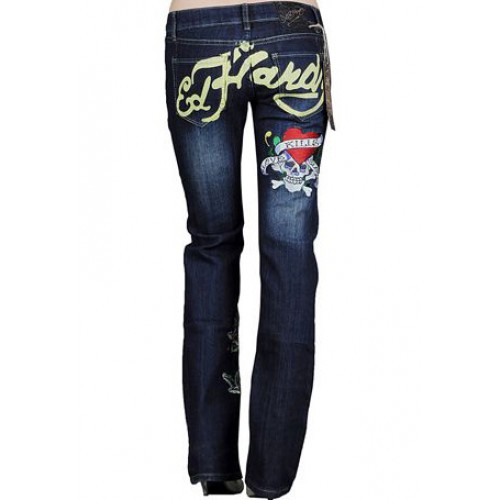 Ed Hardy Womens Jeans Washed straight cut Blue Sale Online