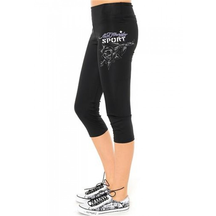 Ed Hardy Cat Eyes And Roses Fitted Sport Capris