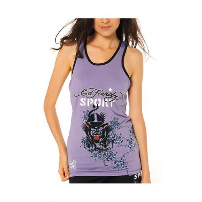 Ed Hardy Panther And Roses Racerback Running Tank Lavendar