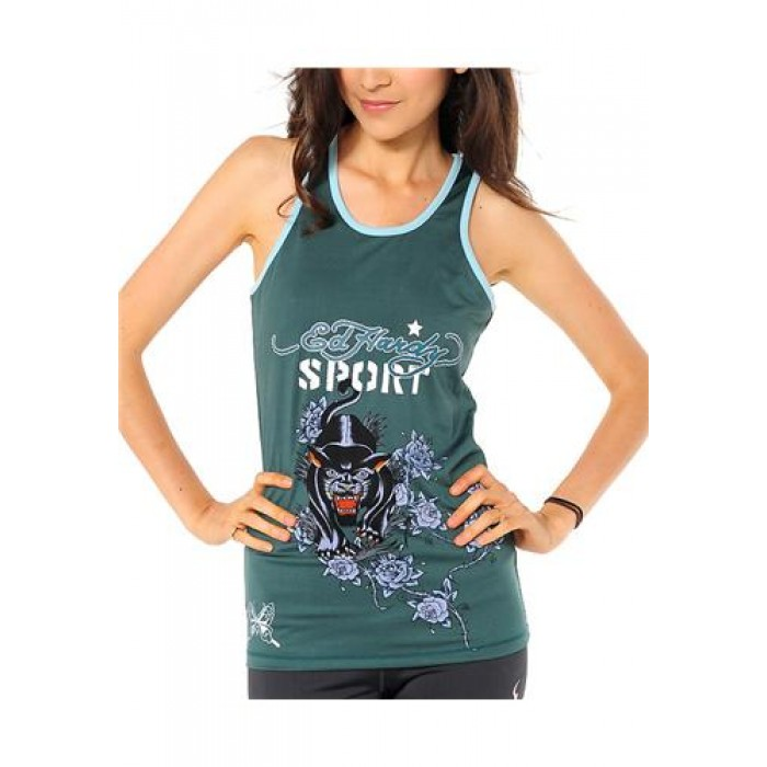 Ed Hardy Panther And Roses Racerback Running Tank Teal