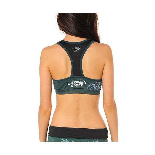 Ed Hardy Cat Eyes And Roses Racerback Sports Bra Teal