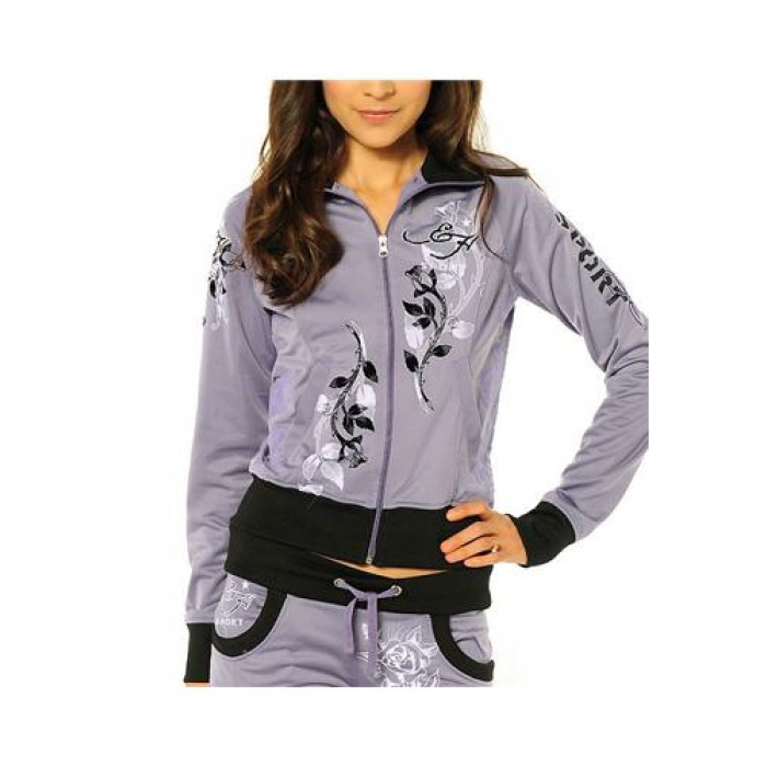 Ed Hardy Cat Eyes And Roses Track Jacket Track Jacket Lavendar