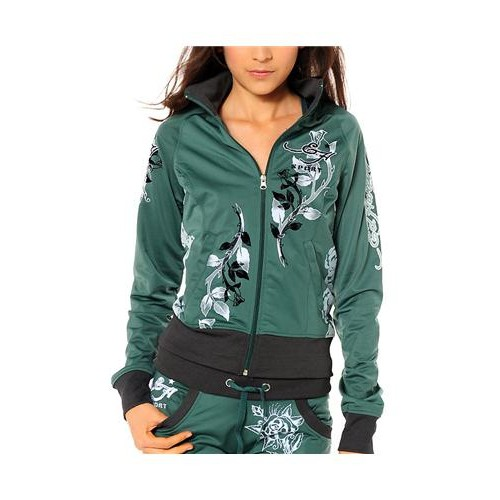 Ed Hardy Cat Eyes And Roses Track Jacket Track Jacket Teal