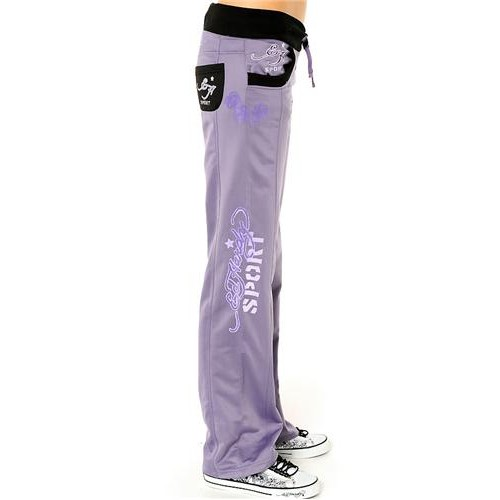 Ed Hardy Cat Eyes And Roses Track Pants Track Pants Lavendar