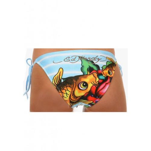 Ed Hardy Womens Two Piece Bikini Fish Kills in Blue
