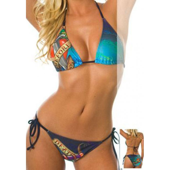 Ed Hardy Womens Two Piece Bikini Death Before Dishonor Dark Blue