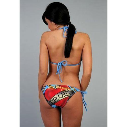 Ed Hardy Womens True Anchor Heart Two Piece Bikini in Blue