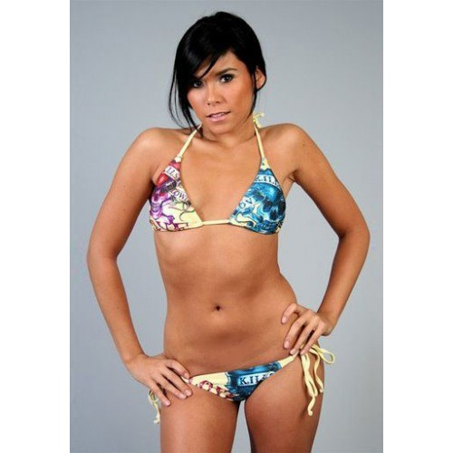 Ed Hardy Womens Two-piece Bikini Love Kills Slowly in Yellow