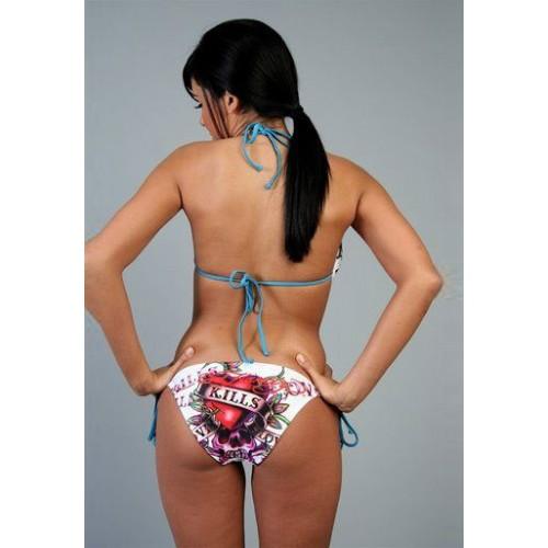 Ed Hardy Womens Two Piece String Bikini Love Kills in White
