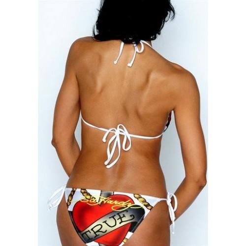 Ed Hardy Womens Two Piece String Bikini True Anchor Heart White