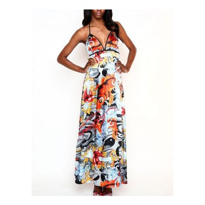 Ed Hardy Lucky Swirl Maxi Halter Dress