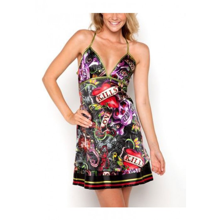 Ed Hardy Valda Love Kills Slowly Spaghetti Strap Dress