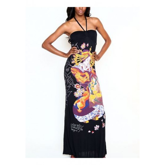 Ed Hardy Angelic Plaited Halter Maxi Dress Black