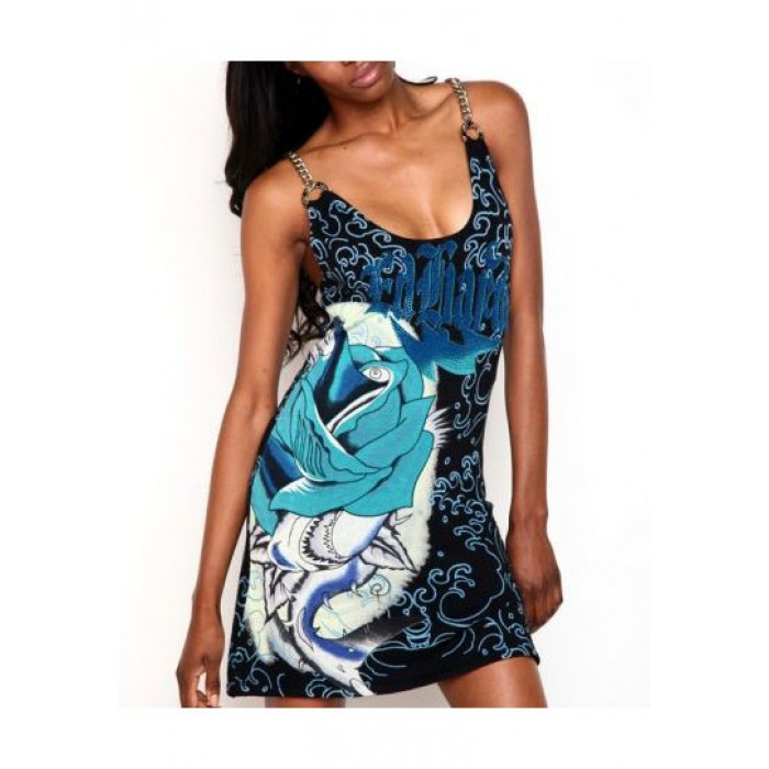 Ed Hardy Shark Rose Knitted Chain Strap Dress Black