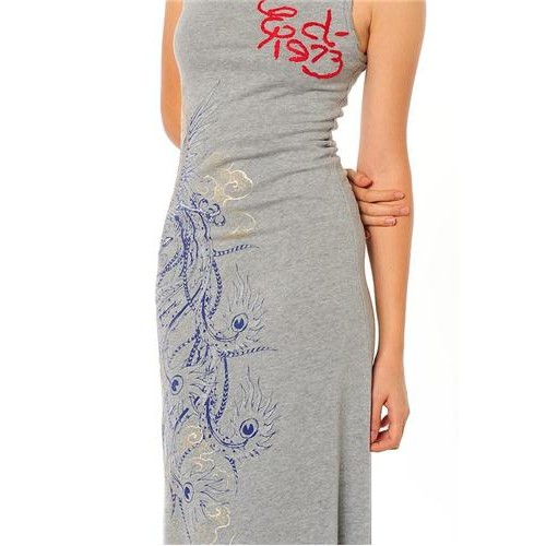 Ed Hardy Tropical Peacock Embroidered Dress