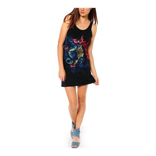 Ed Hardy Nature Made Embroidered Tank Dress Black