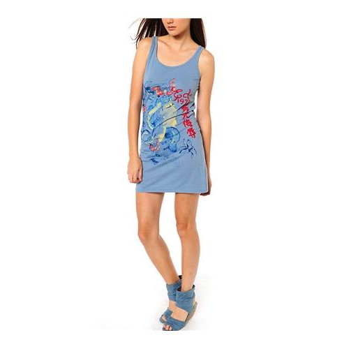 Ed Hardy Nature Made Embroidered Tank Dress Light Blue