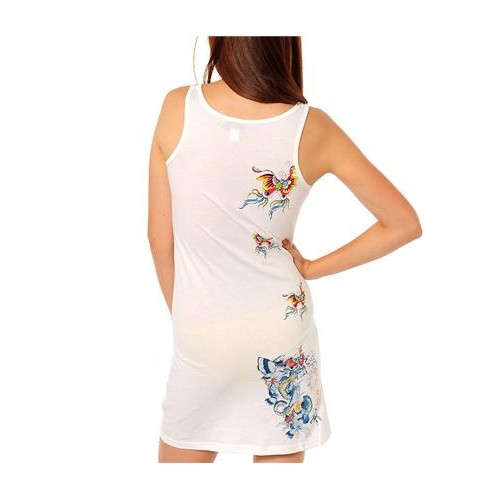 Ed Hardy Nature Made Embroidered Tank Dress White