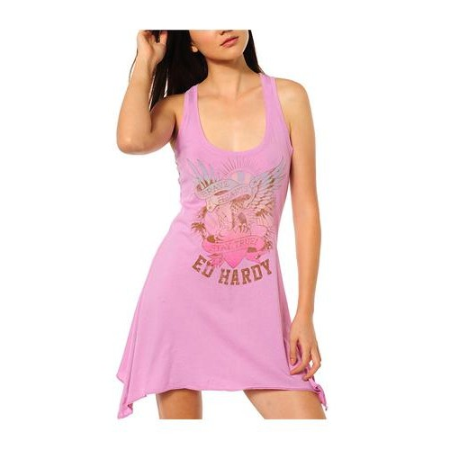 Ed Hardy Brave Hearts Stay True Racer Tank Dress Pink