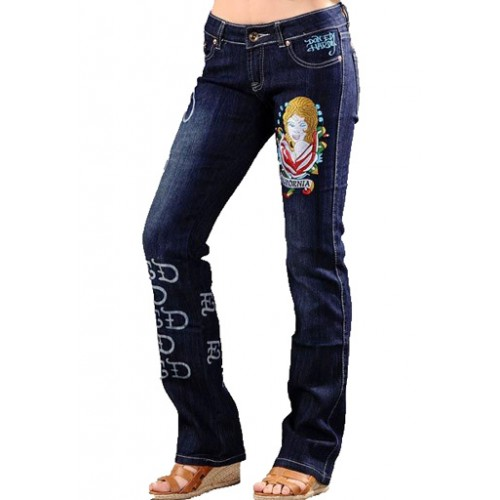 Ed Hardy Womens Jeans Battle Printed Back reliable reputation