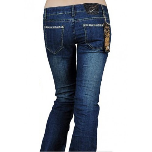 Ed Hardy Womens Jeans Washed straight cut Blue On Sale